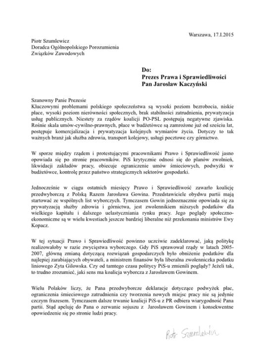 listDoKaczyńskiego